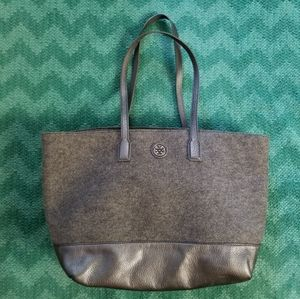 Tory Burch Wool Leather Tote Bag Grey